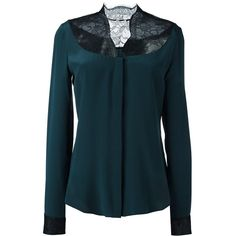 Shop Emanuel Ungaro Lace Panel Blouse at Modalist | M0024000166574 ($272) ❤ liked on Polyvore featuring tops, blouses, lace insert top, emanuel ungaro, blue blouse, lace inset top and emanuel ungaro blouse