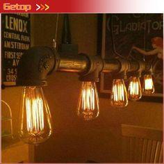 steampunk industriële rustieke metalen pijp edison lamp vintage hanger plafond licht bar met 5 stuks e27 lampen in   moderne luxe slaapkamer geleid kristallen kroonluchter kristallen kroonluchter bar ingang gang gang balkon van hanglampen op AliExpress.com | Alibaba Groep