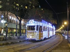 Christmas decorated tram in #Budapest