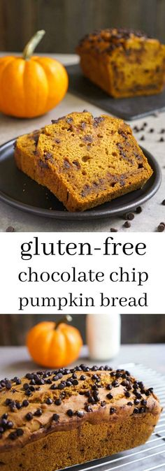 This gluten free chocolate chip pumpkin bread is an easy, delicious treat for snack time. Try this healthy recipe for the perfect taste of fall! From Real Food Real Deals realfoodrealdeals. Gluten Free Treats, Gluten Free Baking, Gluten Free Desserts, Gluten Free Recipes, Healthy Desserts, Vegan Recipes, Gluten Free Pumpkin Bread, Gluten Free Pita Bread, Pumpkin Chocolate Chip Bread