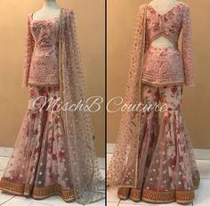 blush Hues by MischB Couture Free Drum Lesson From Top Pro's Across The World Click Now Pakistani Dress Design, Pakistani Outfits, Indian Wedding Outfits, Indian Outfits, Stylish Dresses, Fashion Dresses, Stylish Suit, Gharara Designs, Stitching Dresses