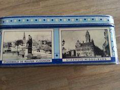 Blikje Zeeuwse boter babbelaars. Met afbeelding Standbeeld de Ruyter Vlissingen en stadhuis Middelburg.
