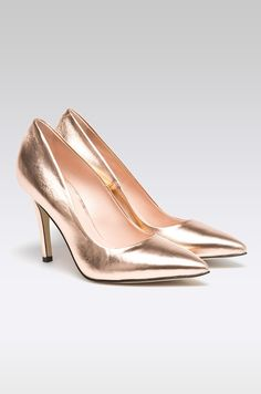 Pantofi aurii tip Stiletto - Solo Femme Kitten Heels, Shoes, Model, Fashion, Woman, Moda, Zapatos, Shoes Outlet