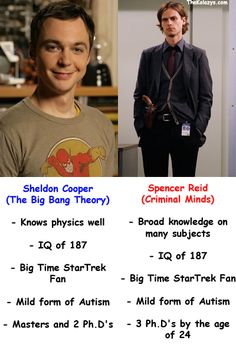 Sheldon Cooper (The Big Bang Theory) vs. Spencer Reid (Criminal Minds)/ Dr. Spencer Reid allllll the way!