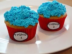 Cute Thing 1 and Thing 2 cupcakes.  I was totally considering doing this theme for the twins birthday this year...hmmm...
