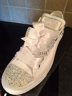 Crystal Bling Wedding Casual Mono White Converse Sizes UK Limited Time Price in Clothes, Shoes & Accessories, Women's Shoes, Trainers Bedazzled Shoes, Bling Shoes, Prom Shoes, Women's Shoes, Invitations Quinceanera, Quinceanera Shoes, Quinceanera Ideas, Bling Converse, White Converse