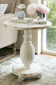St. Kitts Table - Carved Pineapple Table, Tripod Table | Soft Surroundings
