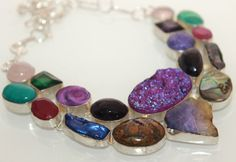 NEW HUGE PURPLE TITANIUM DRUZY-ABALONE SHELL 925 STERLING SILVER NECKLACE S229 #925silverpalace #Charm