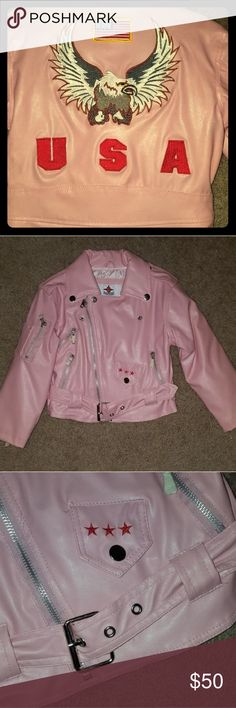 Bike Star pink leather Moto jacket Never worn! Zippers still have paper covers. Faux pink leather motorcycle jacket. Eagle USA decal/patch on the back, waist belt/buckle, multiple pockets and zippers. Pure cool 😎😍 Bike Star Motorcycle Apparel Jackets & Coats
