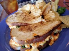 Grilled pimento cheese sandwich and chips. :) Abingdon, Va Pop Ellis Soda Shoppe and Grille