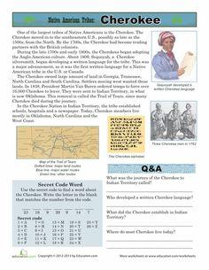 Worksheets: Native American Tribes: Cherokee