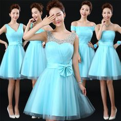 Above Knee Lace Up Light Sky Blue Tulle bridesmaid dresses Chocolate Bridesmaid Dresses, Tulle Bridesmaid Dress, Short Bridesmaid Dresses, Homecoming Dresses, Strapless Dress Formal, Short Dresses, Blue Dresses, Vintage Dresses, Girls Dresses