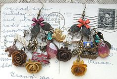 mismatched charm earrings assemblage pinecone mix winter