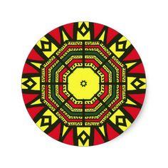 Black, Red, Green and Yellow Geometric design Round Mandala Sticker (sheet of 20)