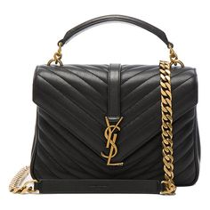 Saint Laurent College Medium Monogramme Chain Bag ($2,530) ❤ liked on Polyvore featuring bags, handbags, yves saint laurent purses, quilted hand bags, quilted chain handbag, quilted chain purse and quilted chain bag
