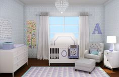 In love with this combination of periwinkle lavender and soft aqua blue!  IF I have a girl this will totally be my nursery .  IN LOVE!!!  Bonus! 10pc Bedding set is $99!!