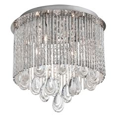 Dainolite Intermezzo INT-124FH-PC Flush Mount Fixture - Sparkling with crystal accents, the Dainolite Intermezzo INT-124FH-PC Flush Mount Fixture brings an air of old school Hollywood glamour to your d&...