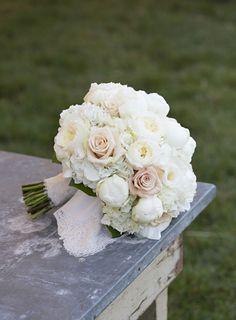 Ivory Patience Garden Roses, White Peonies, White Hydrangea and Sahara Roses. | followpics.co