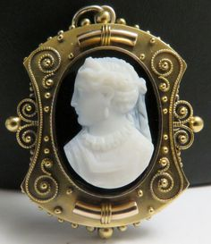 ANTIQUE HARD STONE 12K GOLD CARVED CAMEO PENDANT BROOCH MARY QUEEN OF SCOTS in Jewelry & Watches, Vintage & Antique Jewelry, Fine | eBay