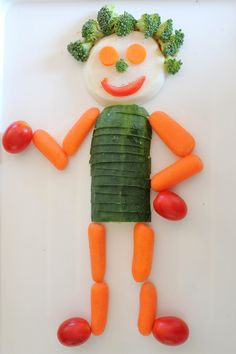 Fun with food - Veggie man! Use aroniaberries for the eyes.