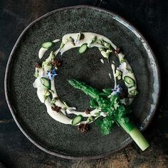 This week on theartofplating.com is all things down under from #Melbourne! Up now is Australian chef Shannon Bennett's #FoodGallery where he's serving up everything from Kangaroo to Oysters.  Green asparagus tied with chervil, mustard foam, fermented black truffle, Rocket flowers, and garlic flowers by @chefbennett23.  by @harvardwang #TheArtOfPlating