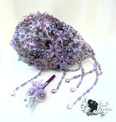 Purple Crystal & Brooch Bouquets - The Tiara Boutique