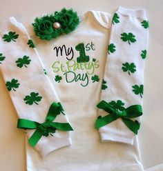 Baby girl First St Patricks Day outfit by AboutASprout on Etsy, $43.50