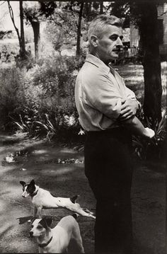 William Faulkner and his Jack Russell terriers, photo by Henri Cartier-Bresson. I like Faulkner. I like Cartier-Bresson even better. I like the dogs best of all. William Faulkner, Henri Cartier Bresson, Jack Russell Terriers, Magnum Photos, Writers And Poets, Photographer Portfolio, Candid Photography, Urban Photography, Color Photography