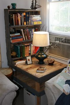 100 % pallet end-table and bookshelf with grey stain around the edge.