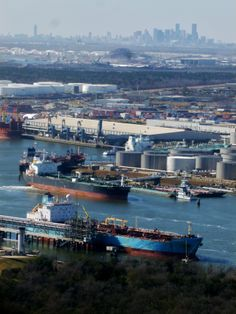 The shipping channel, Houston,Texas. In the background is downtown Houston.