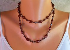 Long Knotted Necklace - Bordeaux / Burgundy Swarovski Pearls & Crystals- Necklace & Earring Set- Bali Sterling Silver- Artisan Handmade Jewelry-