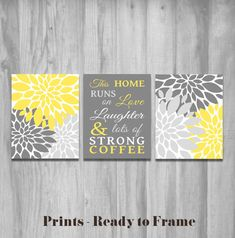 Hey, I found this really awesome Etsy listing at https://www.etsy.com/listing/179731260/kitchen-wall-art-set-this-home-runs-on Yellow Kitchen Walls, Kitchen Grey, Paint For Kitchen Walls, Kitchen Tips, Kitchen Wall Art, Grey Kitchens, New Kitchen, Kitchen Cupboards, Kitchen Stuff