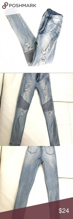 "Fashion Nova distressed denim moto jeans size 1 jr Fashion Nova distressed denim moto jeans size 1 jr  Rise 11""  Not what you're looking for? Feel free to browse my closet for other occasions: Winter, spring, summer, fall, birthday, New Year's Eve, Valentine's Day date, Graduation, Prom, Purim, St. Patrick's Day, Easter, Earth Day, Cinco de Mayo, Mother's Day, EDC, Coachella, Memorial Day, Comic Con, 4th of July, Labor Day, Thanksgiving, Halloween, Christmas Fashion Nova Jeans Skinny"