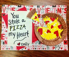 """You stole a pizza my heart"" Valentine's Day card. So cute! #valentine"