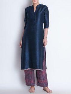 Navy Embroidered & Ajrakh Trim Detailed Raw Silk Kurta