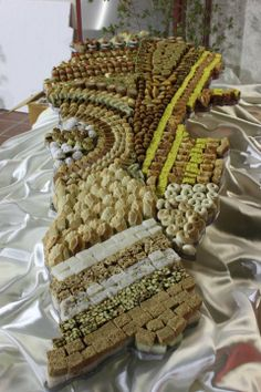 Traditional Lebanese sweets shaped like the country of Lebanon-لبنان يا قطعة... بقلاوة