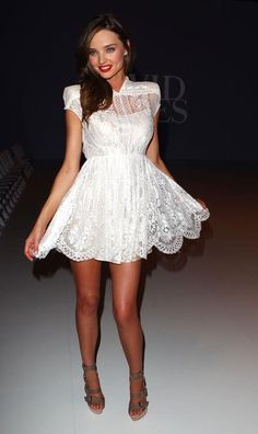 Now that's a killer white dress in lace for the reception