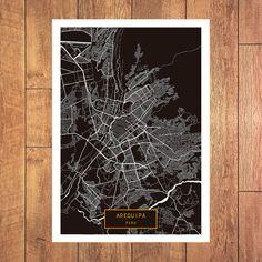 AREQUIPA Peru CANVAS Large Art City Map Arequipa by JackTravelMap