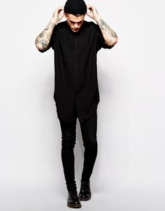 Stephen James ASOS Smart Shirt In Longline With Drape Fabric