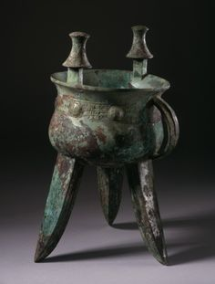 Large Ritual Wine Warmer (Jia) with Whorls and Spirals. China, probably Henan Province, Late Shang Dynasty, early Anyang Phase, abt. 1300-1200 B.C.