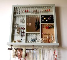 Jewelry display. earrings holder. necklace holder. AQUA blue stain display with shelf.  wall mounted jewelry organizer storage. earrings .
