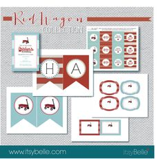 Little Red Wagon Birthday Printables Collection  PRINTABLE PARTY by ItsyBelle,