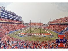 University of Illinois Memorial Stadium LIMITED EDITION Pen and Ink and Watercolor Art Print Illustration by John Stoeckley -Graduation Gift by CollegeArtStoeckley on Etsy