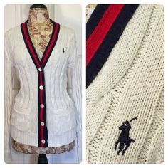 Ralph Lauren cardigan Classic cable knit cream with red and blue trim with button front.  Top button is broken as shown in pic 3 - button still works. Ralph Lauren Sweaters Cardigans