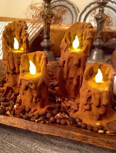 Primitive Salem Brown Waxless Battery Operated Candles Sprinkled in Cinnamon #NaivePrimitive