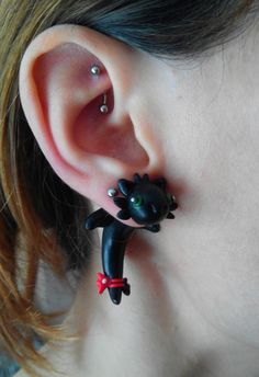 Toothless Dragon Fake gauge earring Piercing How to Train Your