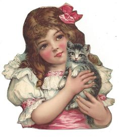 Victorian Die Cut Scrap Girl holding Kitten