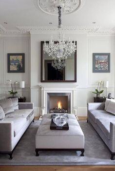Looking for small living room ideas? The best small living room designs from the House & Garden archive. Living Room With Fireplace, Cozy Living Rooms, Formal Living Rooms, Living Room Grey, Living Room Interior, Home Living Room, Living Room Designs, Living Area, Fireplace Brick