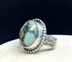 Turquoise Ring, Seven Dwarfs Turquoise Ring, Sterling Silver Ring, Woman's Turquoise Ring, Statement Ring