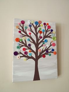 Button tree art buttons & beads*** button crafts, crafts for Cute Crafts, Crafts To Do, Kids Crafts, Arts And Crafts, Kids Diy, Button Tree Art, Button Art, Button Tree Canvas, Diy Projects To Try